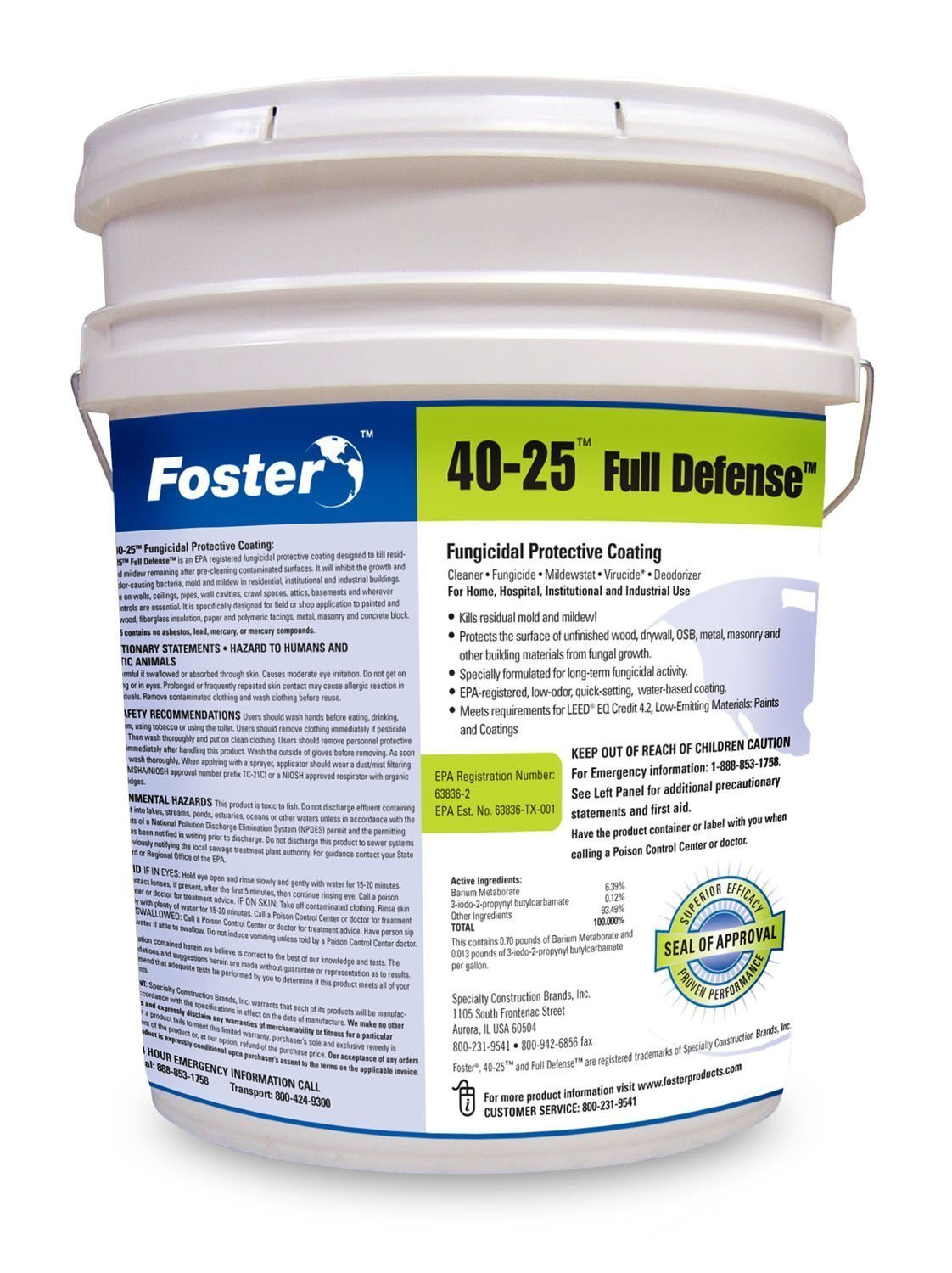 Foster Products - Full Defense - 40-25 - Fungicidal Protective Coating - Kills Residual Mold and Mildew Remaining After Pre-Cleaning Contaminated Surfaces - White - 5 Gallon Pail