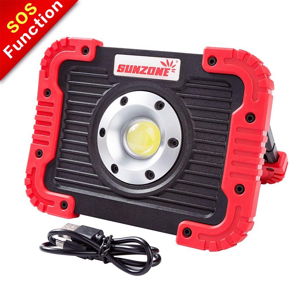 SUNZONE 10W Portable LED Work Light Outdoor Rechargeable Lantern IPX5 Waterproof Flood Lights for Camping Hiking Car Repairing with SOS Mode (Red color)