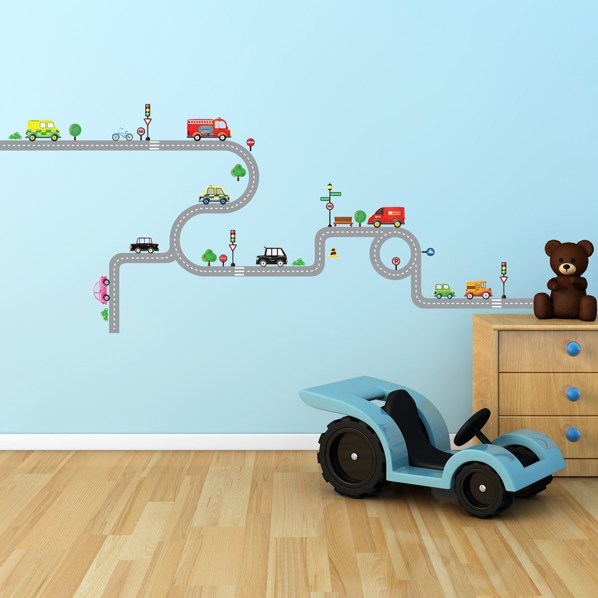 Decowall DW 1204 10 Transports And Roads Kids Wall Stickers Wall Decals  Peel And Stick Removable Wall Stickers For Kids Nursery Bedroom Living  Room: ...