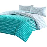SCM Squares Gradient Teal Mosaic Printed Reversible Quilt Cover Pillowcase set , 100% Cotton (Queen)