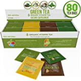 Organic Green Tea - Variety Pack - 80 Tea Bags - 20 of Each Flavor (2 grams each) by Kiss Me Organics