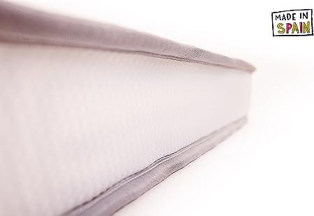 SLEEPAA Colchón de cuna 120x60 cm Espuma acolchada Transpirable Descanso bebé Altura 10 cm Fabricado en España Confort (117x57 cm)