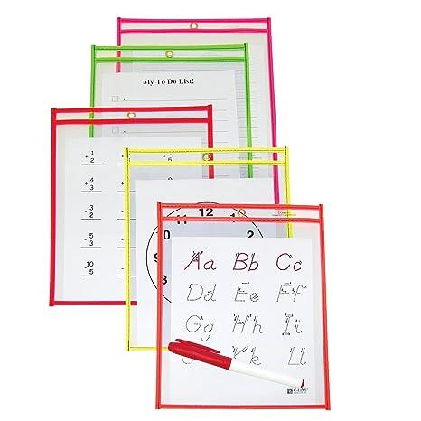 Amazon.com : C-Line Reusable Dry Erase Pockets, 6 x 9 Inches ...