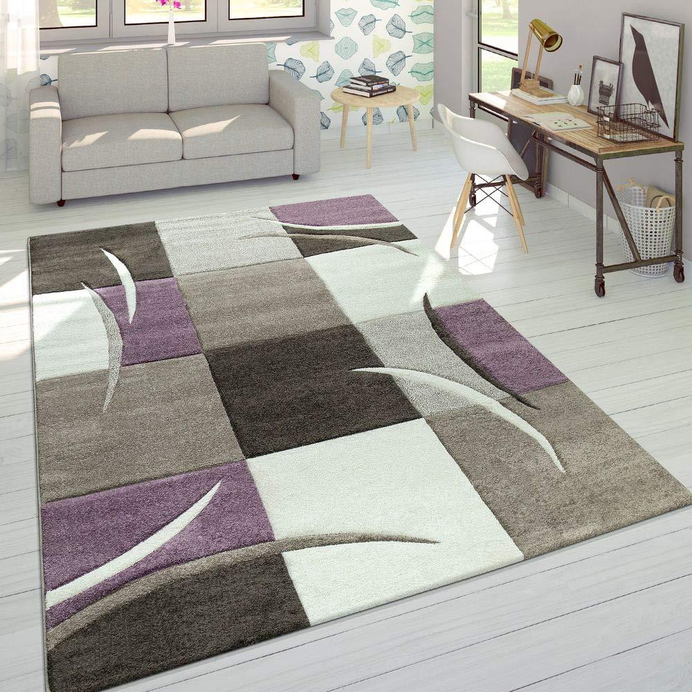 Paco Home Designer Teppich Modern Konturenschnitt Pastellfarben Mit Karo Muster Beige Lila, Grösse 240x330 cm