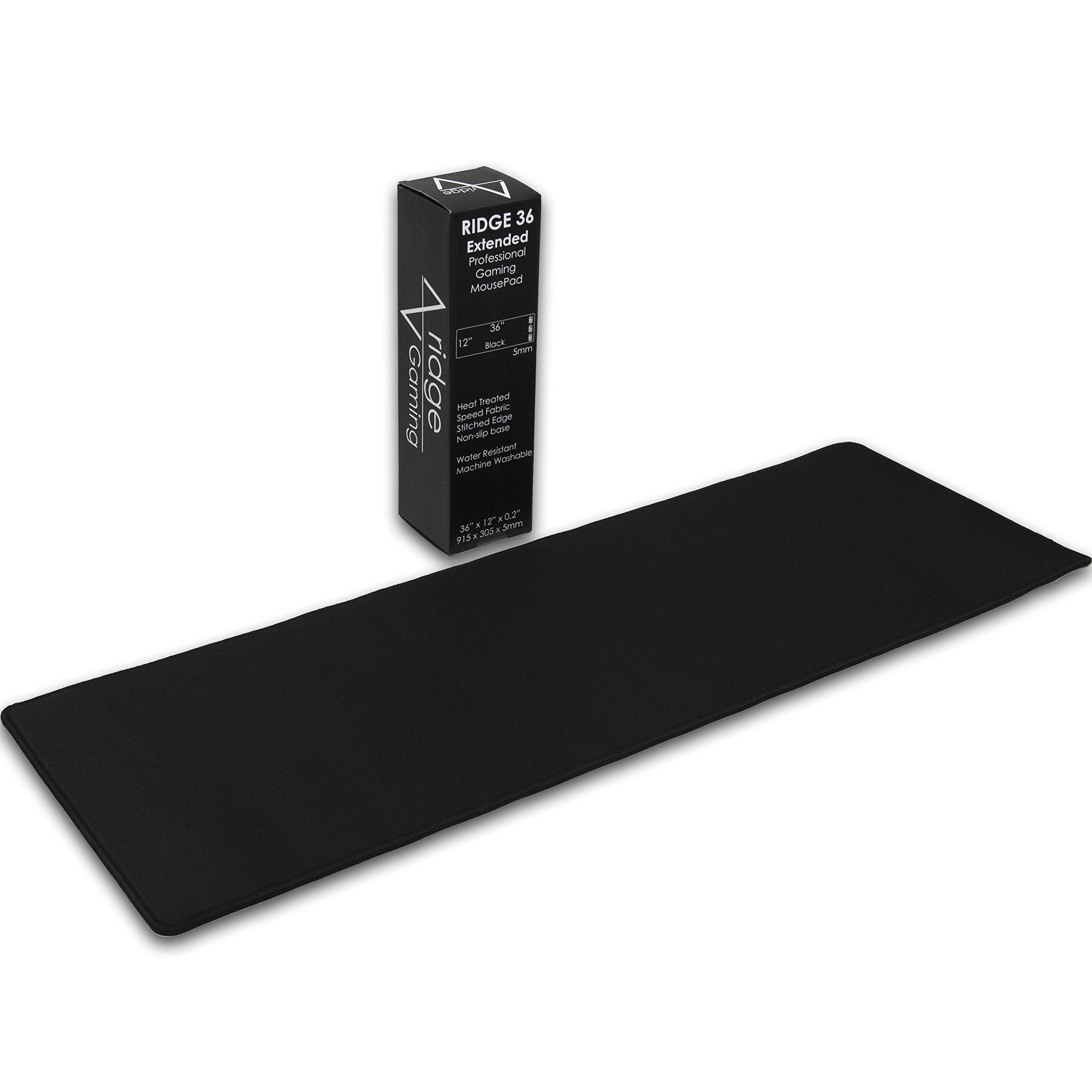 Pro Gaming Mouse Pad (5mm) | Ridge Extended 36 inch | 36x12x0.20'' Extra Thick | Black/Black | Dense-Weave Speed Poly, Superior Control | Stitched-Edge, Water resistant, Washable, Giant, Large Desk Mat