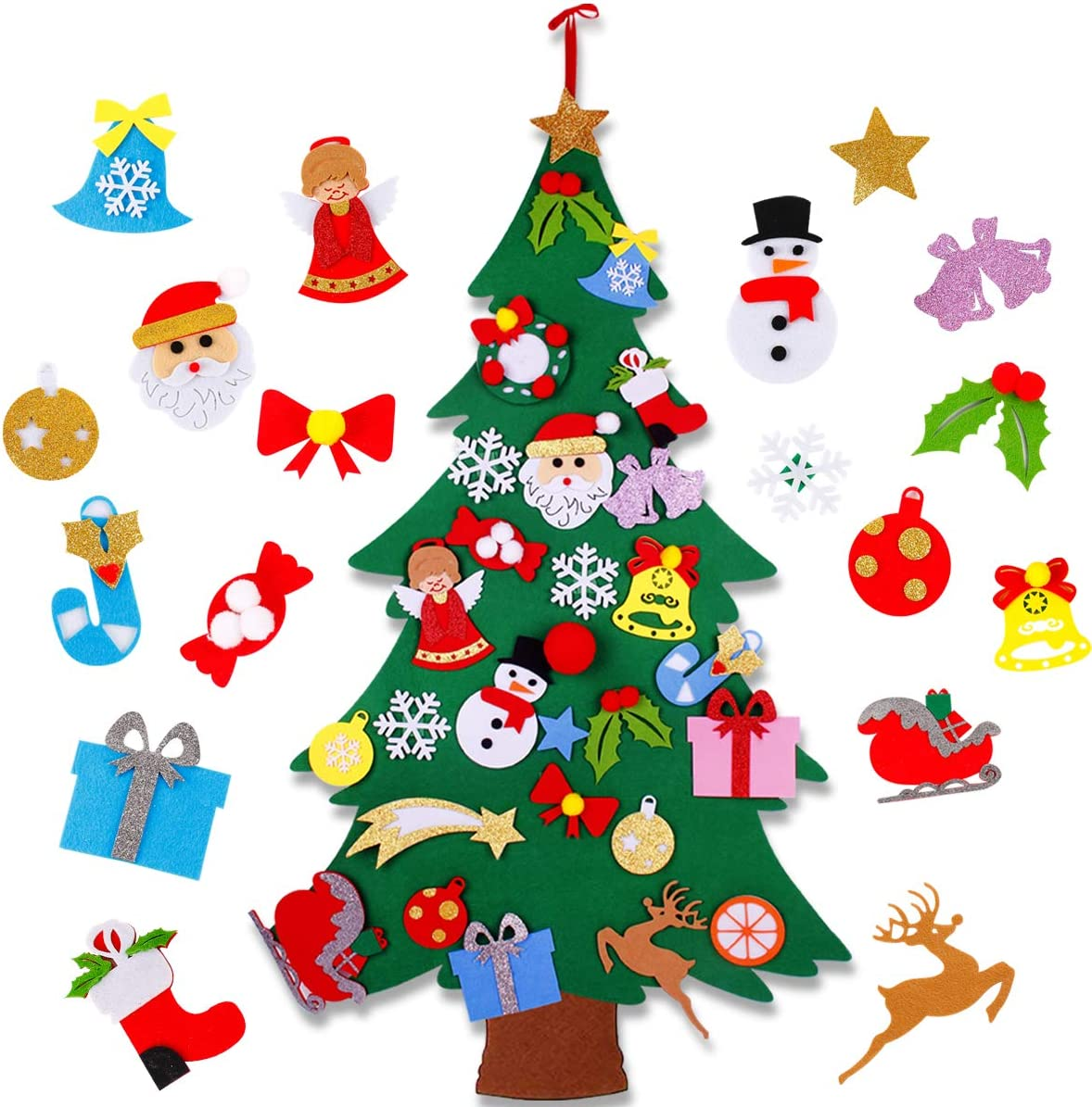 amazon com frigg diy felt christmas tree set with 25pcs ornaments for kids xmas gifts for 3 2ft wall hanging christmas ornaments kids new year handmade christmas decorations home kitchen frigg diy felt christmas tree set with 25pcs ornaments for kids xmas gifts for 3 2ft wall hanging christmas ornaments kids new year handmade