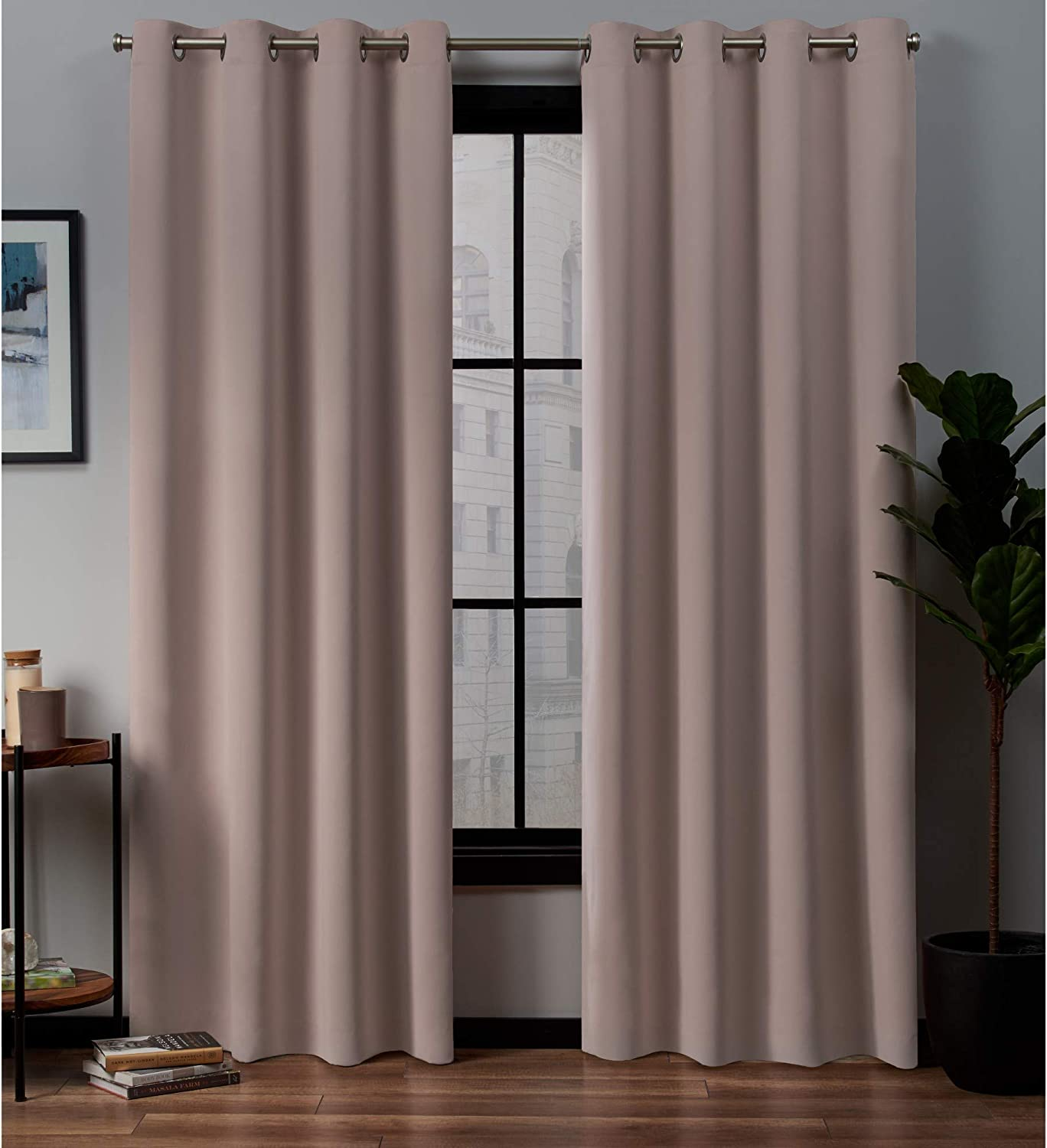 Exclusive Home Curtains Academy Total Blackout Grommet Top Curtain Panel Pair, Blush, 52x84
