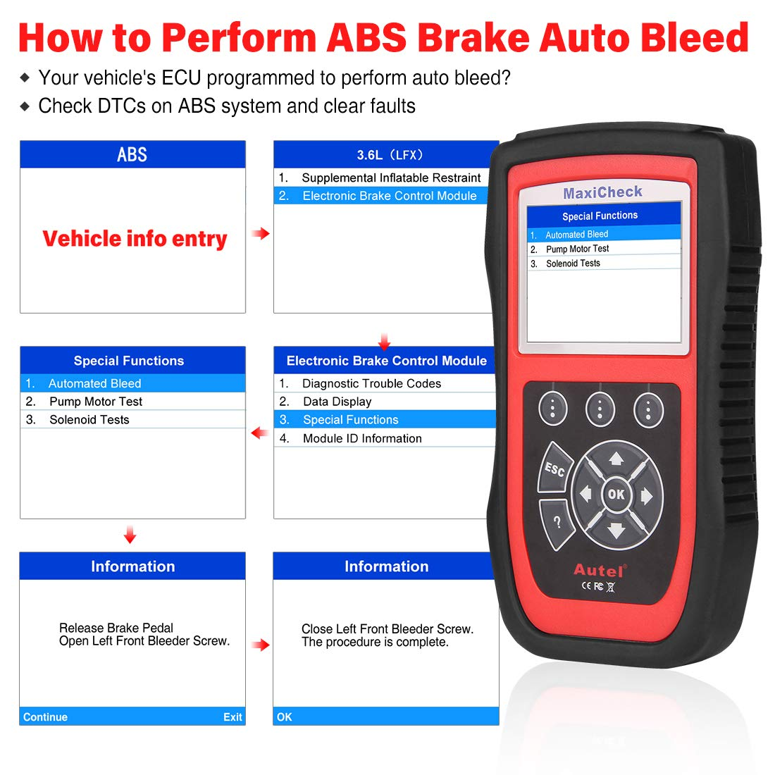 SRS BMS Autel MaxiCheck Pro OBD2 Diagnoseger/ät Auto Scanner mit ABS Bremsentl/üftung DPF f/ür Bestimmte Fahrzeuge /Ölreset EPB SAS