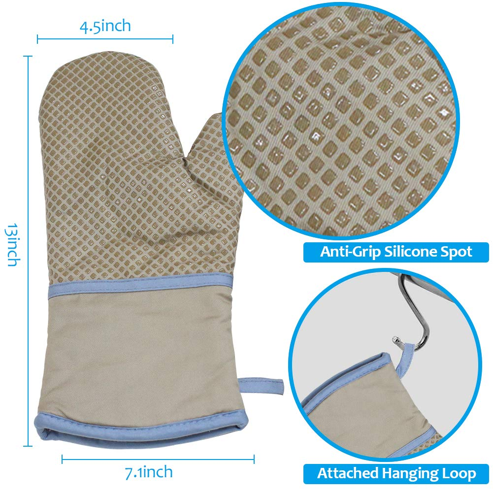 RSVLEISI Oven Mitts Cotton Lining Cooking Mitts for Kitchen Heat-Resistant Gloves with Non-Slip Silicone Printed Anti-Scalding Gloves Black