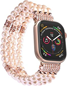 Imymax Replacement for Apple Watch Band 42mm/44mm Handmade Beaded Elastic Stretch Faux Pearl Bracelet Replacement iWatch Strap/Wristband for iWatch Series 4/3, Series 2, Series 1 - Pink for Women Girl