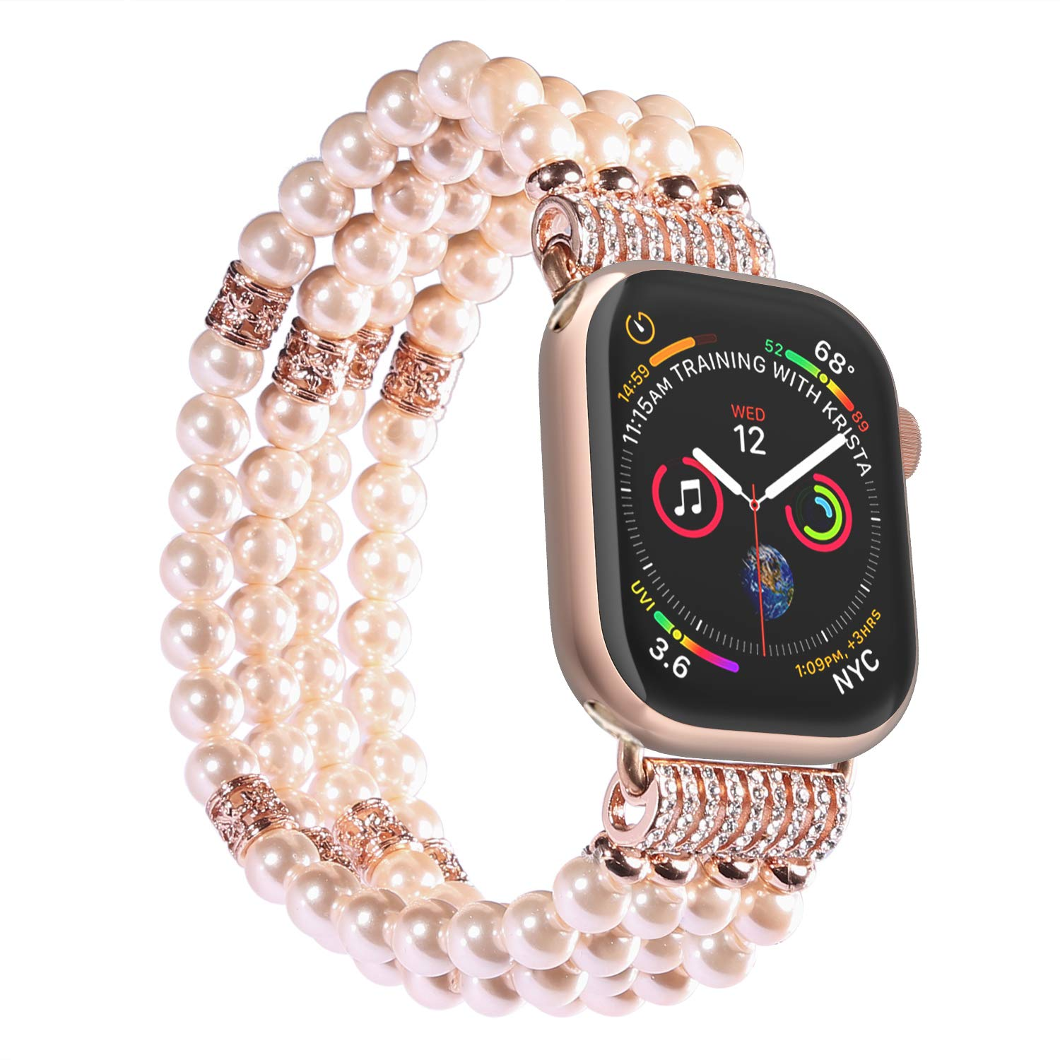 Imymax Replacement for Apple Watch Band 38mm/40mm Handmade Beaded Elastic Stretch Faux Pearl Bracelet Replacement iWatch Strap/Wristband for iWatch Series 4/3/2/1 - Pink for Women Girl by IMYMAX