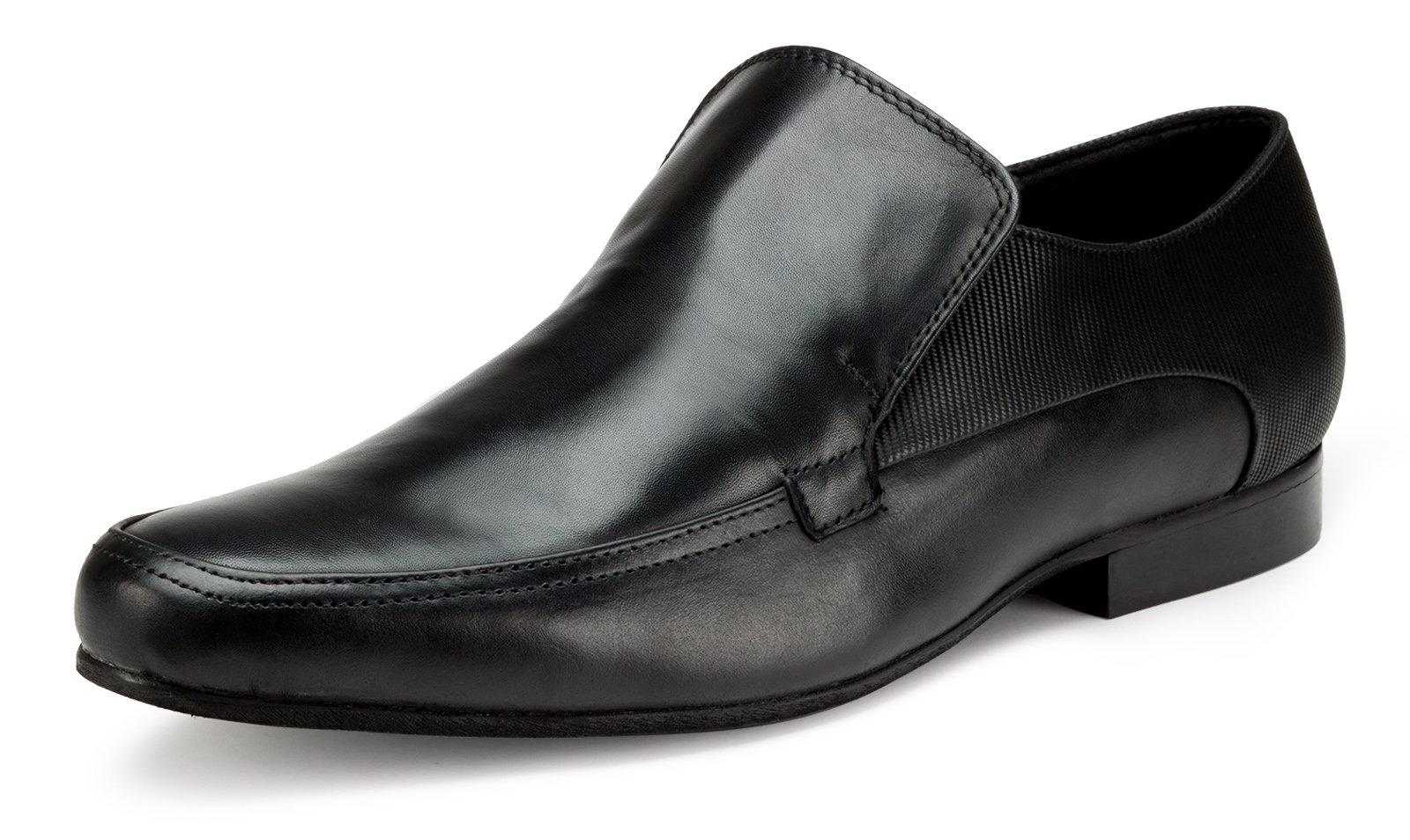 Escaro Men's Leather Formal Slip On Shoe 11 Black