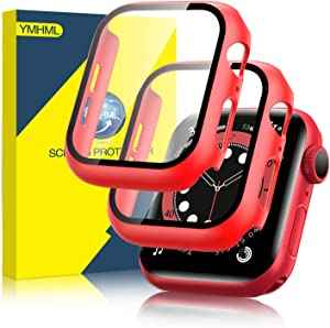 [2 Pack] YMHML Hard Case Compatible with Apple Watch Series 6 Apple Watch SE 40mm with Built-in Tempered Glass Screen Protector, Thin Full Coverage Bubble-Free Cover for iWatch Accessories (Red)