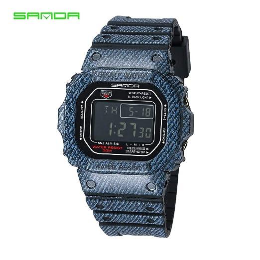 Sanda 339 Reloj de Moda multifunción Reloj LED Digital 30 m Impermeable Reloj Deportivo Casual para Parejas Amantes HAHA: Amazon.es: Relojes
