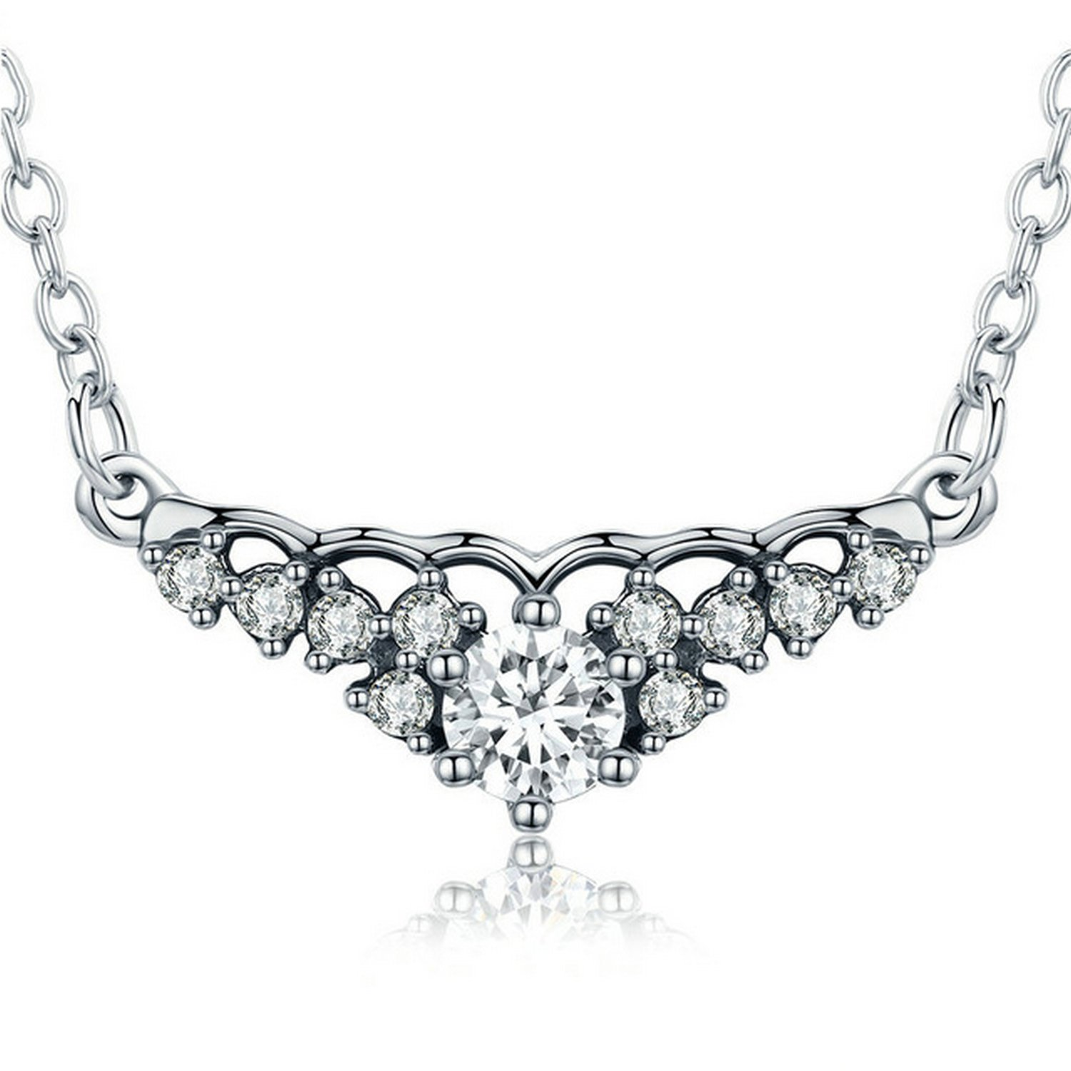 CS-DB Jewelry Silver Silver Fairytale Tiara Necklace Clear CZ Chain Charm Pendants Necklaces