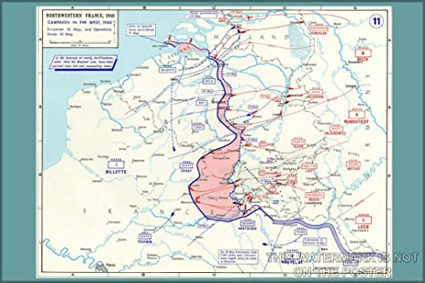 Amazon Com Battle Of France Map 24 X36 Poster Prints