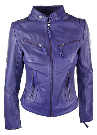 6819d52a0e14 Perfecto femme cuir véritable style biker vintage coupe cintrée  Amazon.fr   Vêtements et accessoires