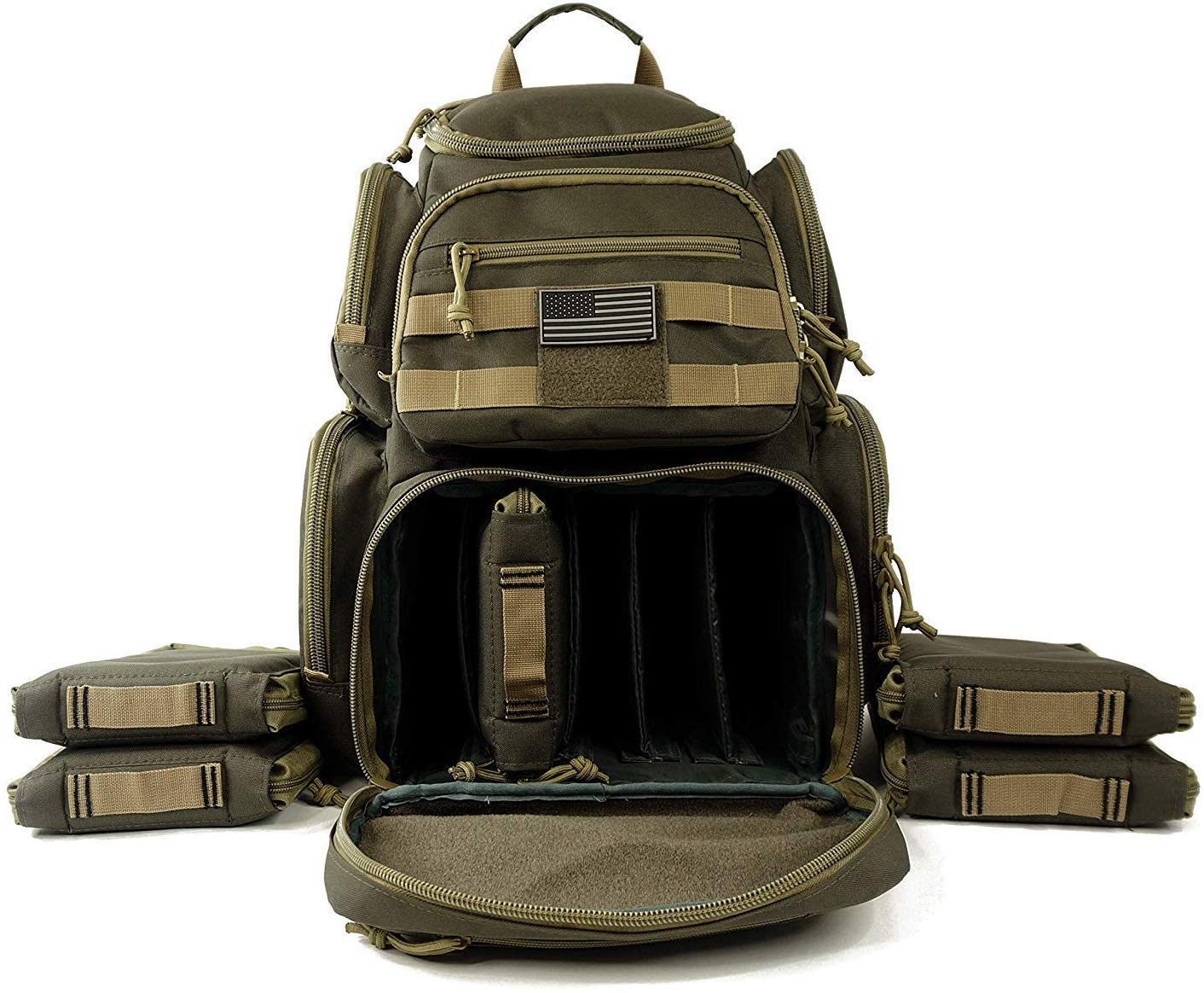 Tactical Range Backpack Military Gear Carries 5 Handguns Multi-Functional Ammo Pouches & Magazine Pockets for Pistols Quality Heavy Duty Materials Perfect for Shooting & Hunting Khaki by NiceAndGreat