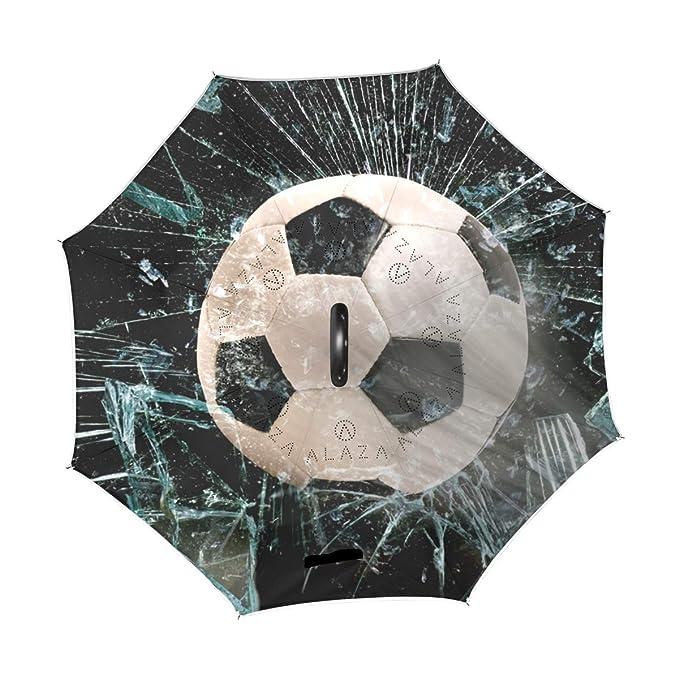 Mnsruu - Paraguas invertido de fútbol con Doble Capa de Cristal, Resistente al Viento, Resistente al Viento, Resistente al Viento, Paraguas de Viaje para ...