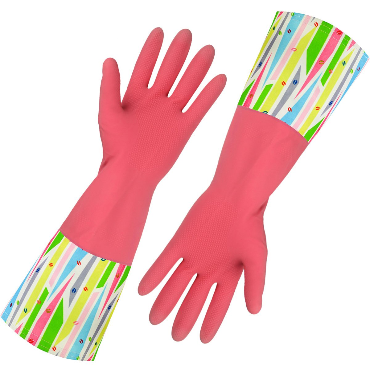 Rubber Household Gloves, Reusable Long Latex Kitchen Cleaning Gloves, with Cotton Lining (Pink 2 Pairs) by Cleanbear (Image #1)