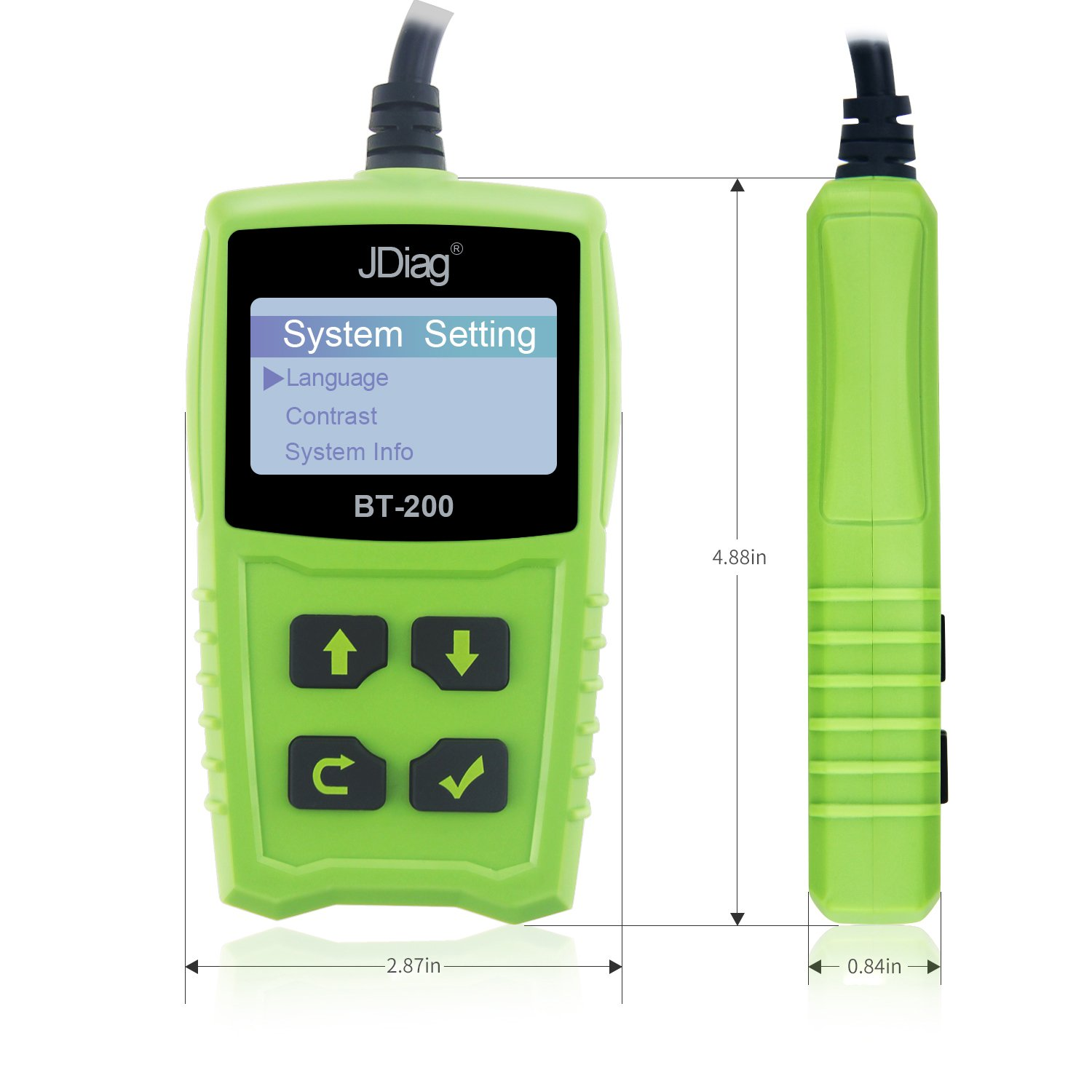 Car Battery Tester 12V 100-1700 CCA 100AH BT200 Automotive Load Battery Tester Digital Analyzer Bad Cell Test Tool VXDAS for Car/Boat/Motorcycle and More (Green) by VXDAS (Image #4)