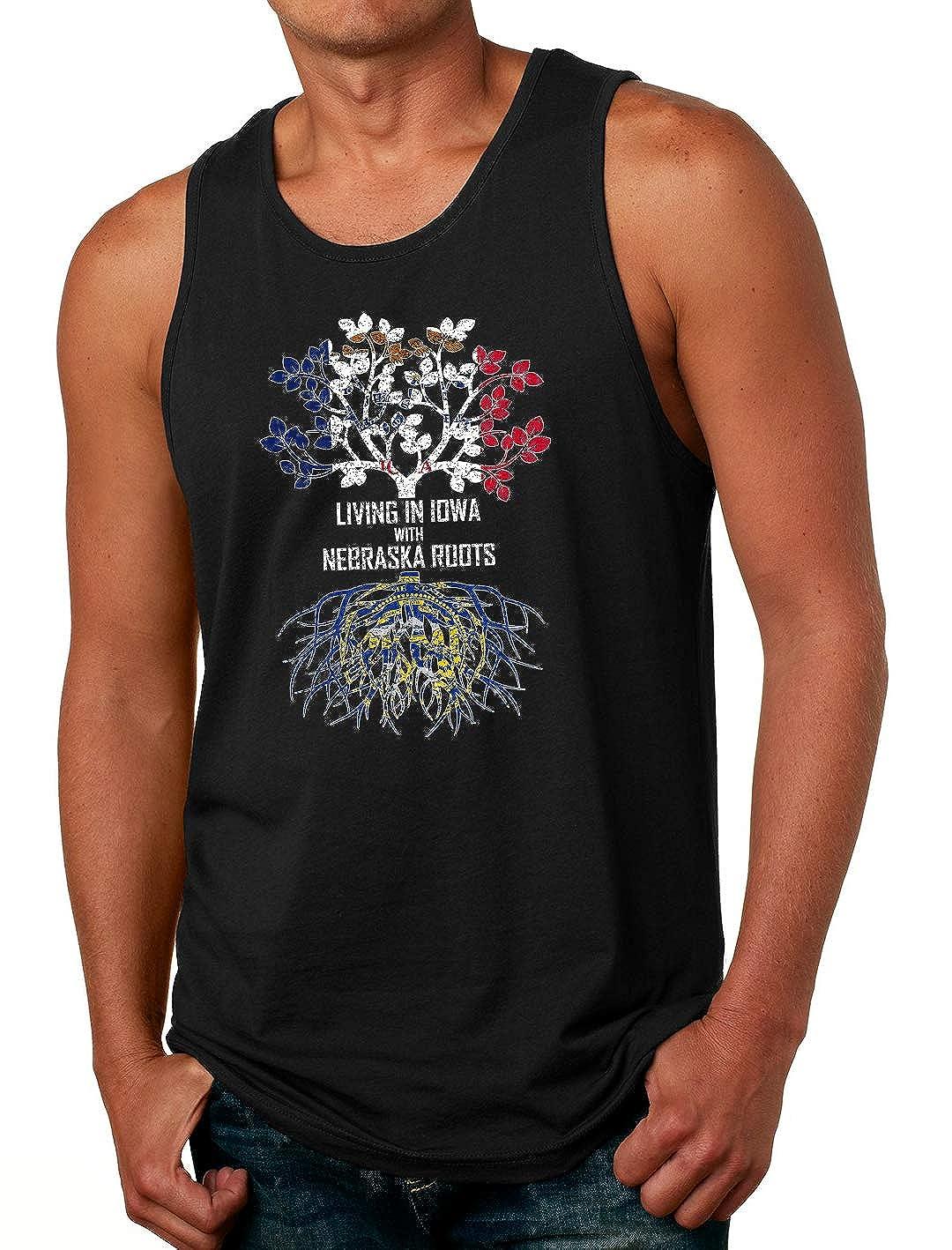 Tenacitee Mens Living in Iowa with Nebraska Roots T-Shirt