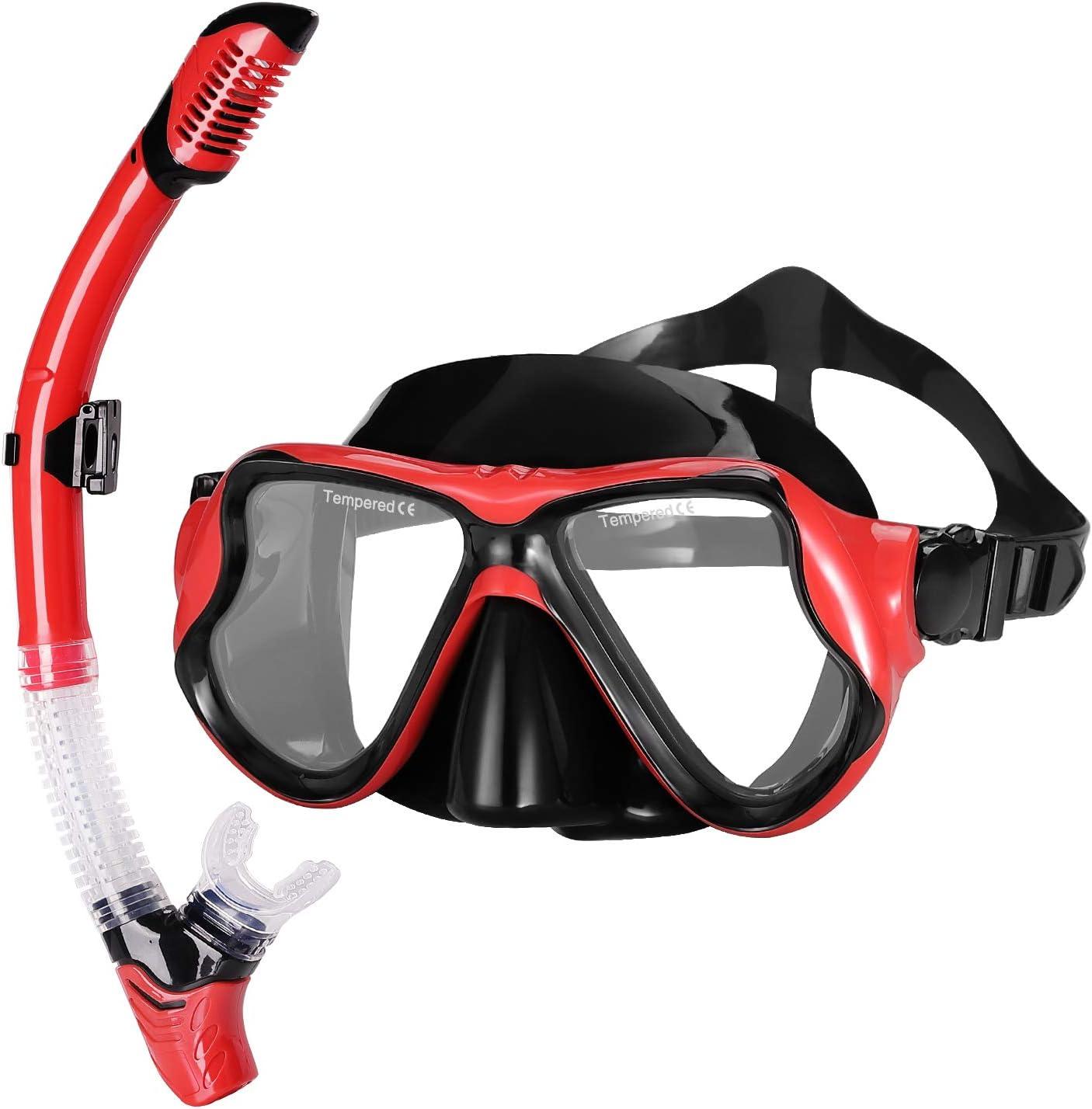 FREEDM Schnorchelset Erwachsene Taucherbrille mit Schnorchel Tauchset gehärtete Anti-Beschlag Gläser Taucherbrille wasserdichte Tauchmaske und trockenem Schnorchel Set