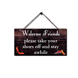"""SAC SMARTEN ARTS Rustic Wood Sign Wall Hanging Plaque Vintage Take Off Shoe Wall Sign Size 11.5"""" x 6"""""""