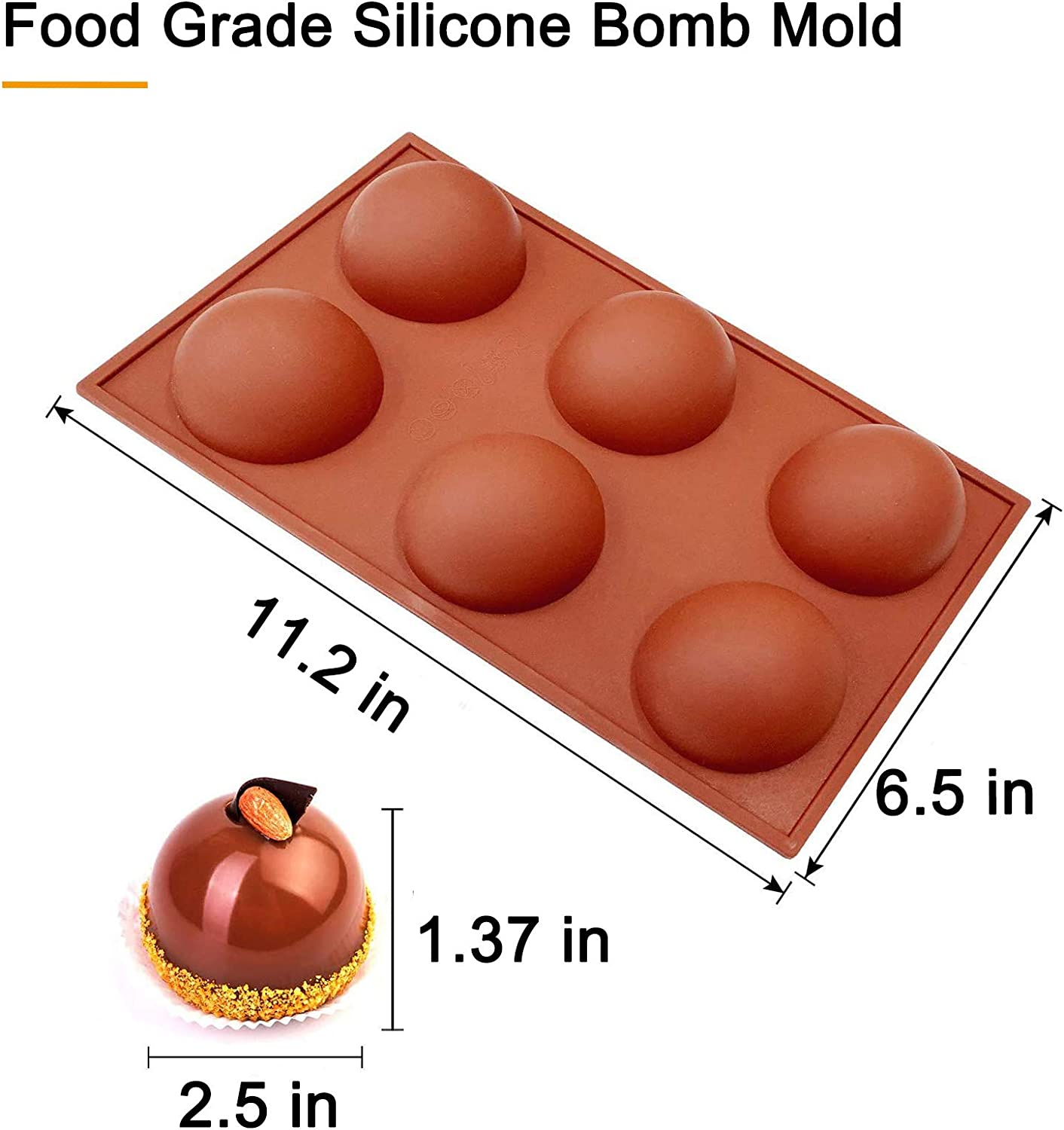 Jelly Dome Mousse 2PCS Cake Hot Chocolate Bomb Mold Large Chocolate Sphere Mold Mousse Mold Silicone Ball Baking 6 Holes for Making Hot Chocolate Bomb