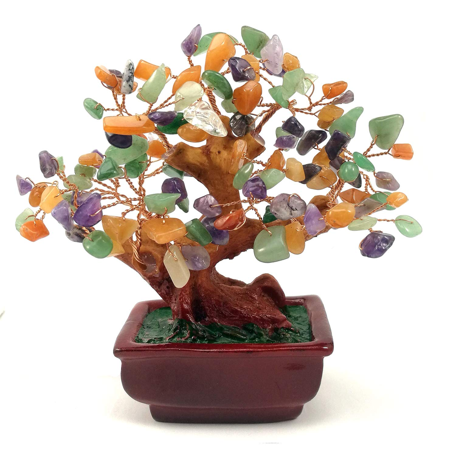 Natural Multicolor Crystal Money Tree, Rainbow Mix Gem Stone Money Tree-amethyst, Quartz Cluster Base Bonsai Sculpture Figurine for Wealth and Luck