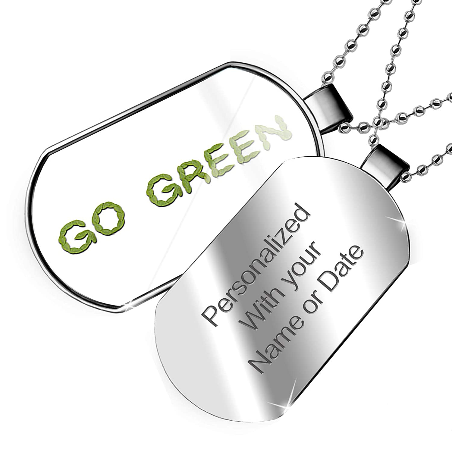 NEONBLOND Personalized Name Engraved Go Green Green Leaf Nature Dogtag Necklace