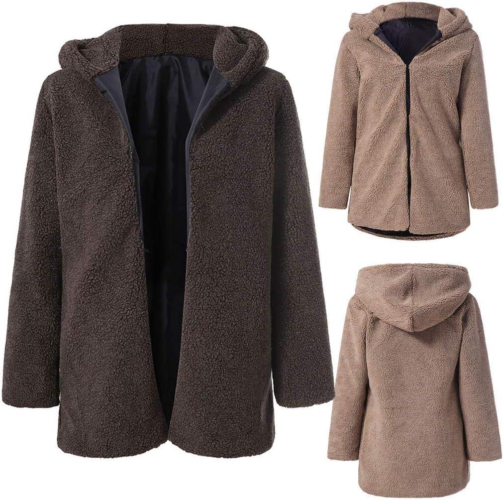 Womens Fashion Zipper Plush Winter Hooded Long Sleeve Warm Coat Khaki