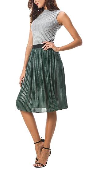 1bc5054d00 Urban CoCo Women's Midi Skirt Metallic Accordion Pleated A-Line Skirt at  Amazon Women's Clothing store: