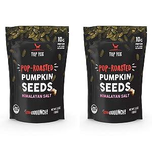 Top Fox Snacks - Organic Pop-Roasted Pumpkin Seeds | Healthy Protein Snacks - Gluten Free - Keto and Vegan Friendly (Himalayan Salt, 3.5 oz - 2 Pack)