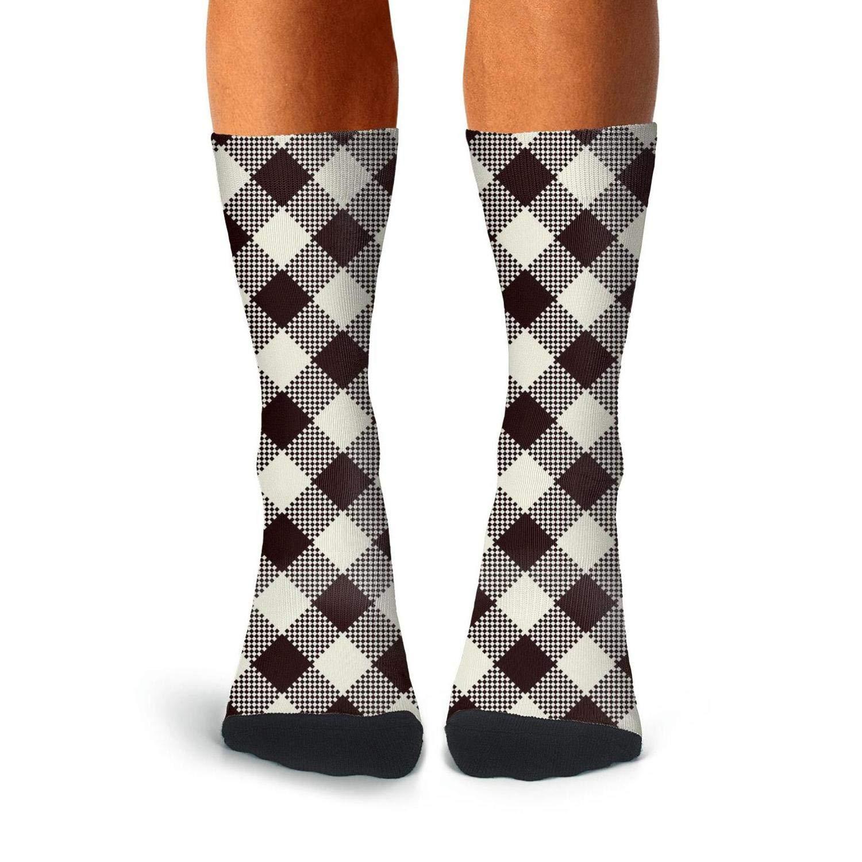 Mens Athletic Cushion Crew Sock Beautiful Brown British Plaid Lattice Long Sock Casual