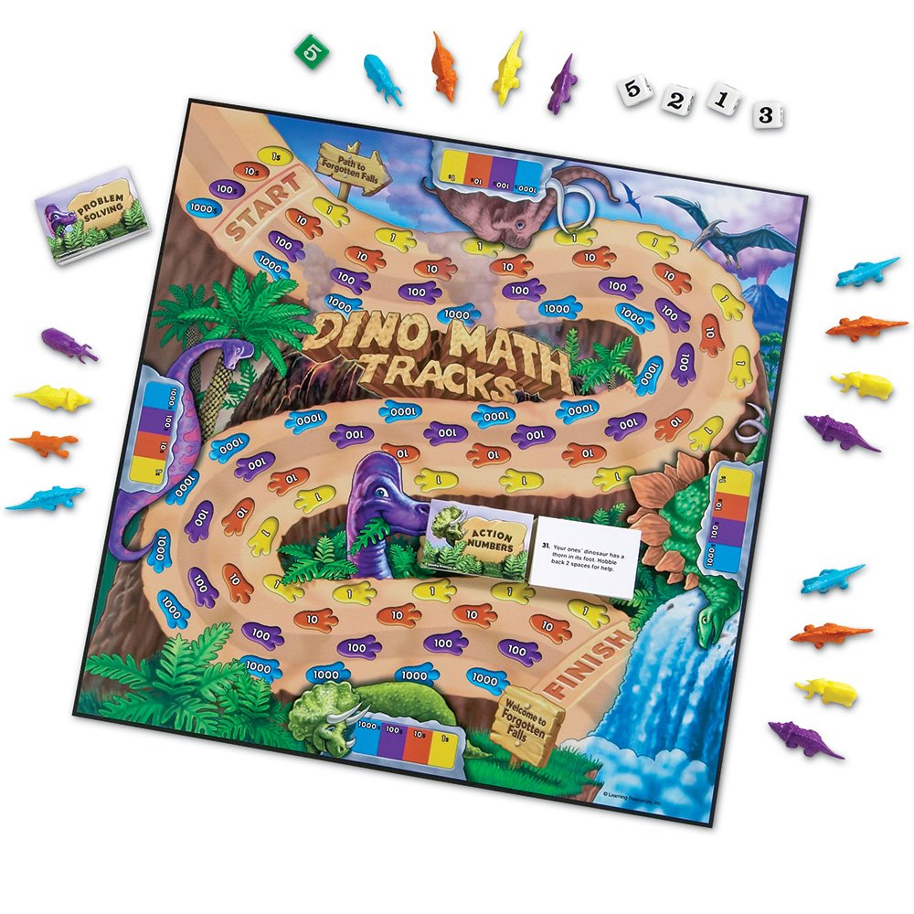 dinosaur math tracks place value game