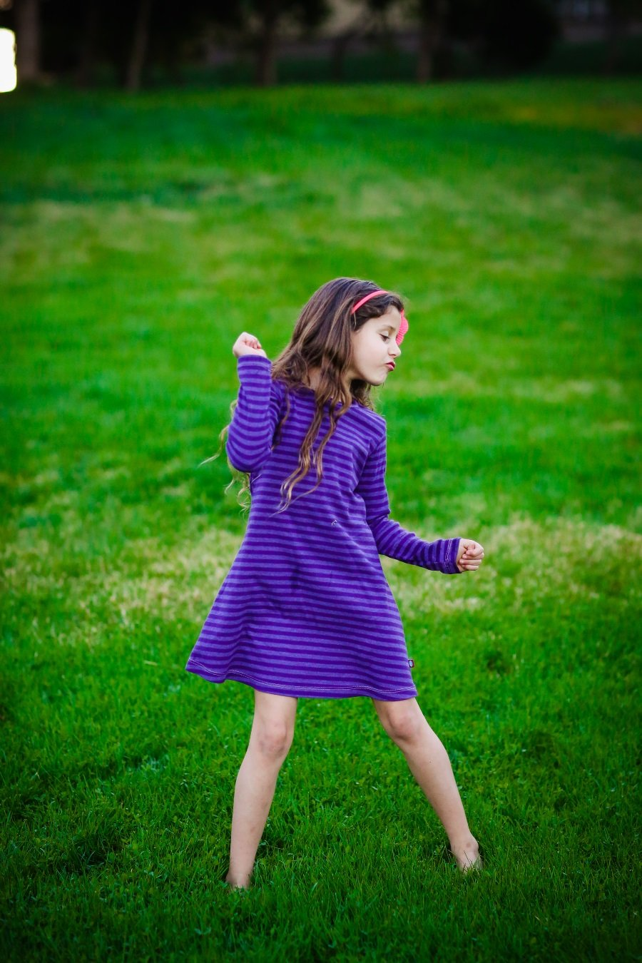 City Threads Little Girls' Cotton Long Sleeve Dress, Striped Wave, 6 by City Threads (Image #3)