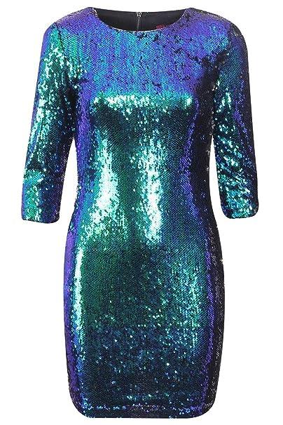 Girltalkfashions - 3/4 Sleeve Verde Azul Dos Tonos Mini vestido corto vestido de fiesta: Amazon.es: Ropa y accesorios