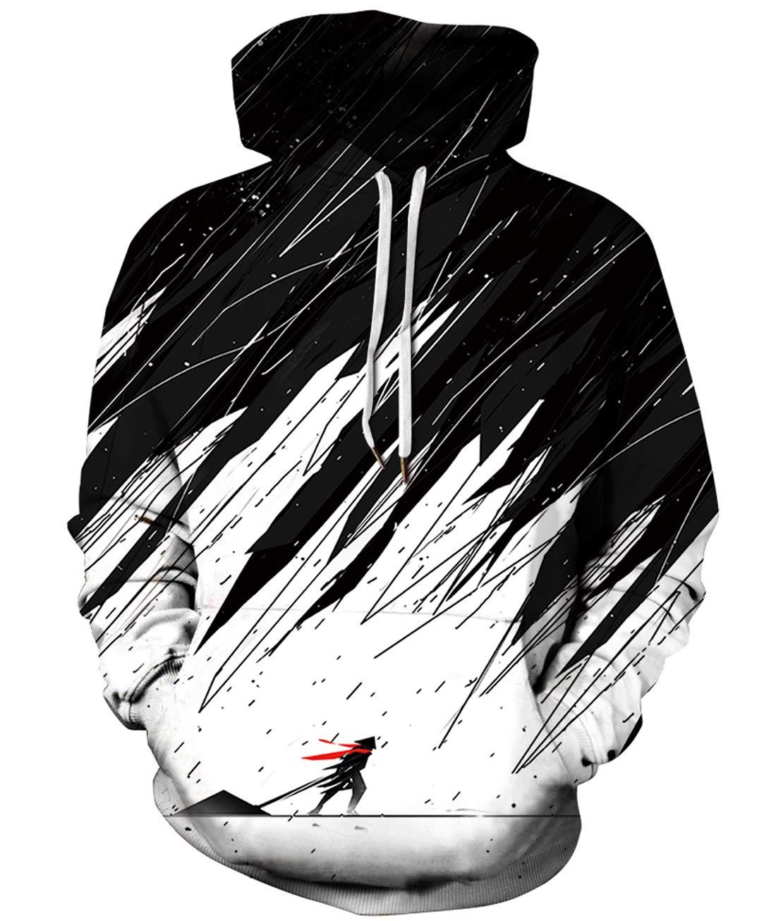 URVIP Unisex Realistic 3D Print Pullover Sweatshirt Hoodies with Big Pockets QYDM-447 XXL/XXXL by URVIP