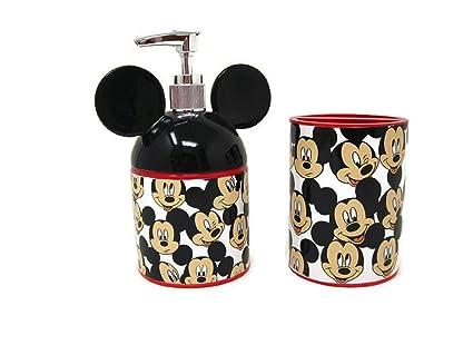 Mickey Mouse jabón/dispensador de loción y vaso para cepillos de dientes Paquete/Set