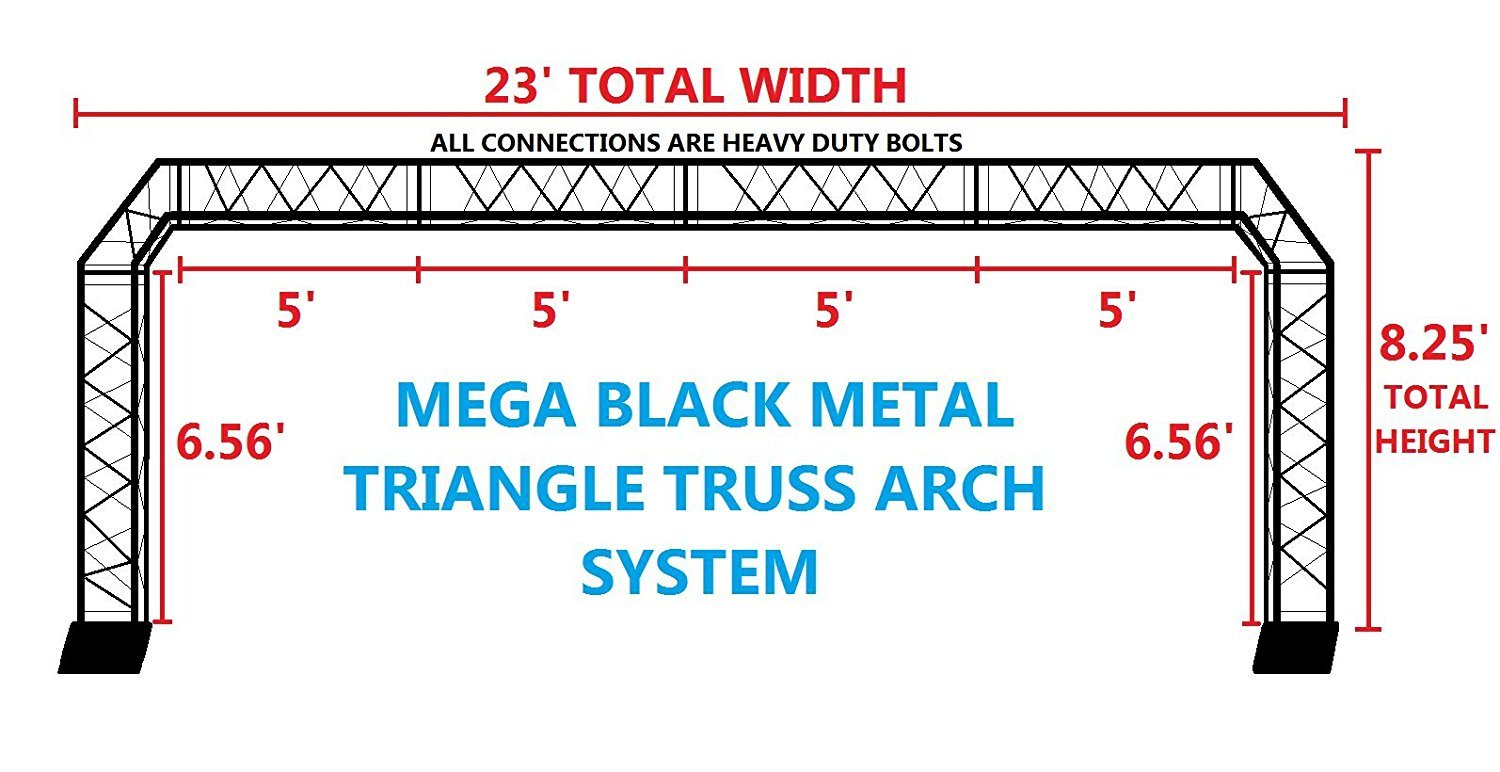 BLACK TRUSS ARCH KIT 23FT Width Mobile Portable DJ Lighting System Metal Bolts. LARGEST ARCH SYSTEM AVAILABLE! QUICK/EASY SETUP!