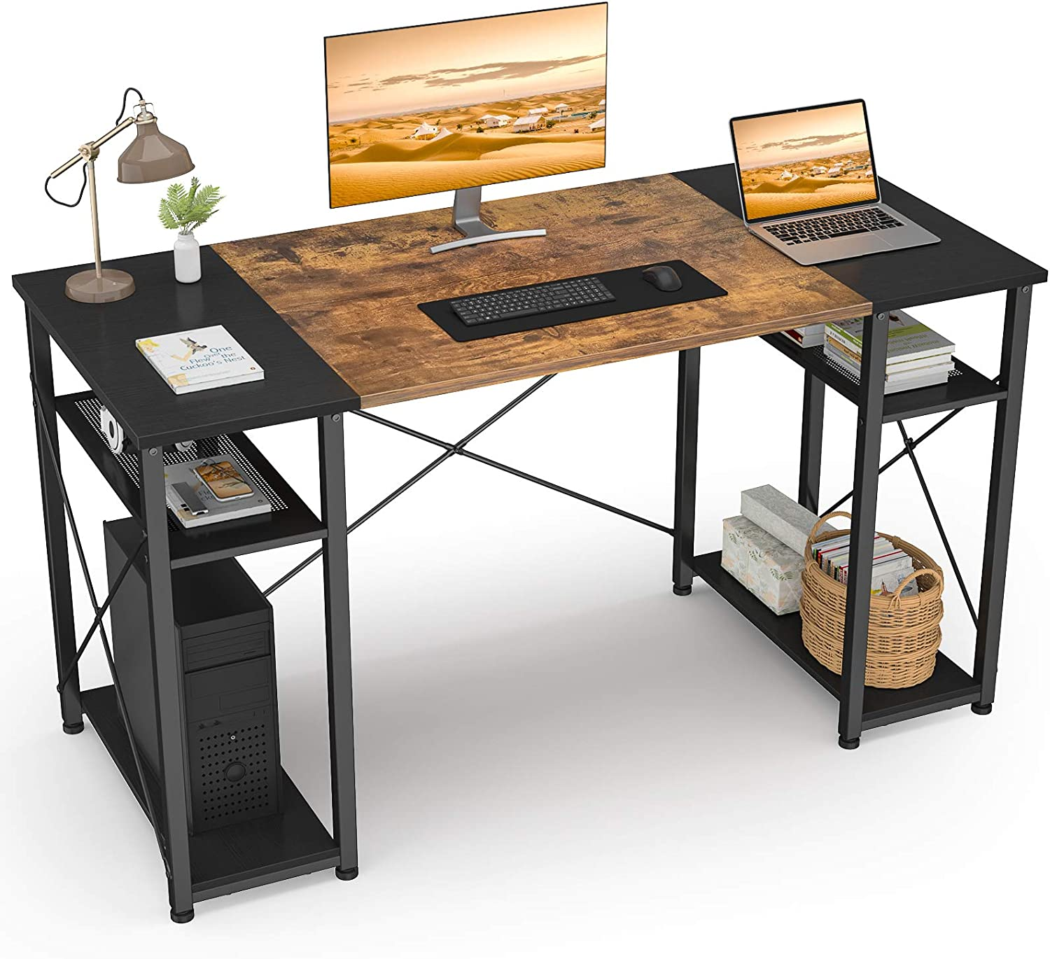 47 Inch Computer Desk with Shelves, Ecoprsio Home Office Desk Small Study Writing Table, Industrial Sturdy Modern Table Simple Laptop PC Desk with Splice Board, Rustic and Black