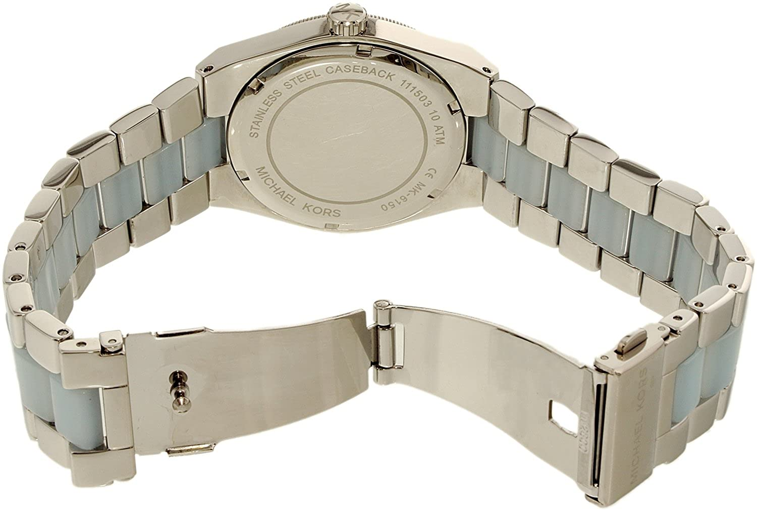 3bbe4e471fd1 Michael Kors MK6150 Channing Silver Dial Stainless Steel and Chambray  Acetate Ladies Watch  Michael Kors  Amazon.co.uk  Watches