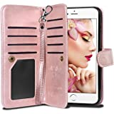 "iPhone 6S Plus Case, Vofolen Detachable iPhone 6S Plus Wallet Case Flip Cover Magnetic Folio PU Leather Protective Slim Shell Card Holder Wrist Strap for iPhone 6 Plus 6S Plus 5.5"" - Rose Gold"