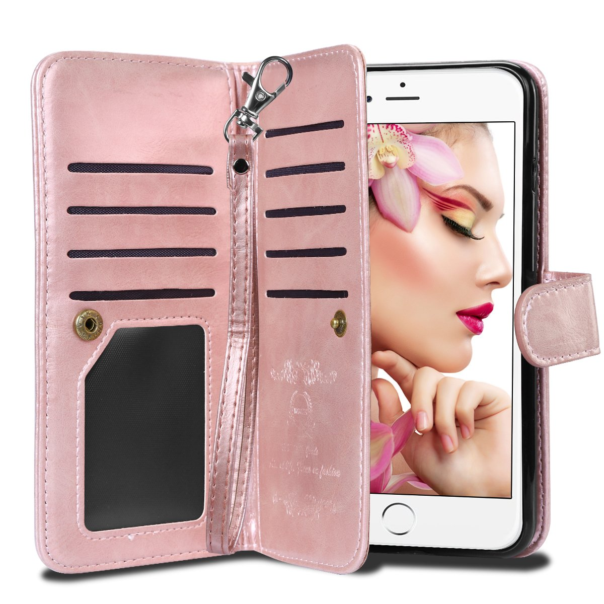 iPhone 6S Plus Case, Vofolen Detachable iPhone 6S Plus Wallet Case Flip Cover Magnetic Folio PU Leather Protective Slim Shell Card Holder Wrist Strap for iPhone 6 Plus 6S Plus 5.5'' - Rose Gold