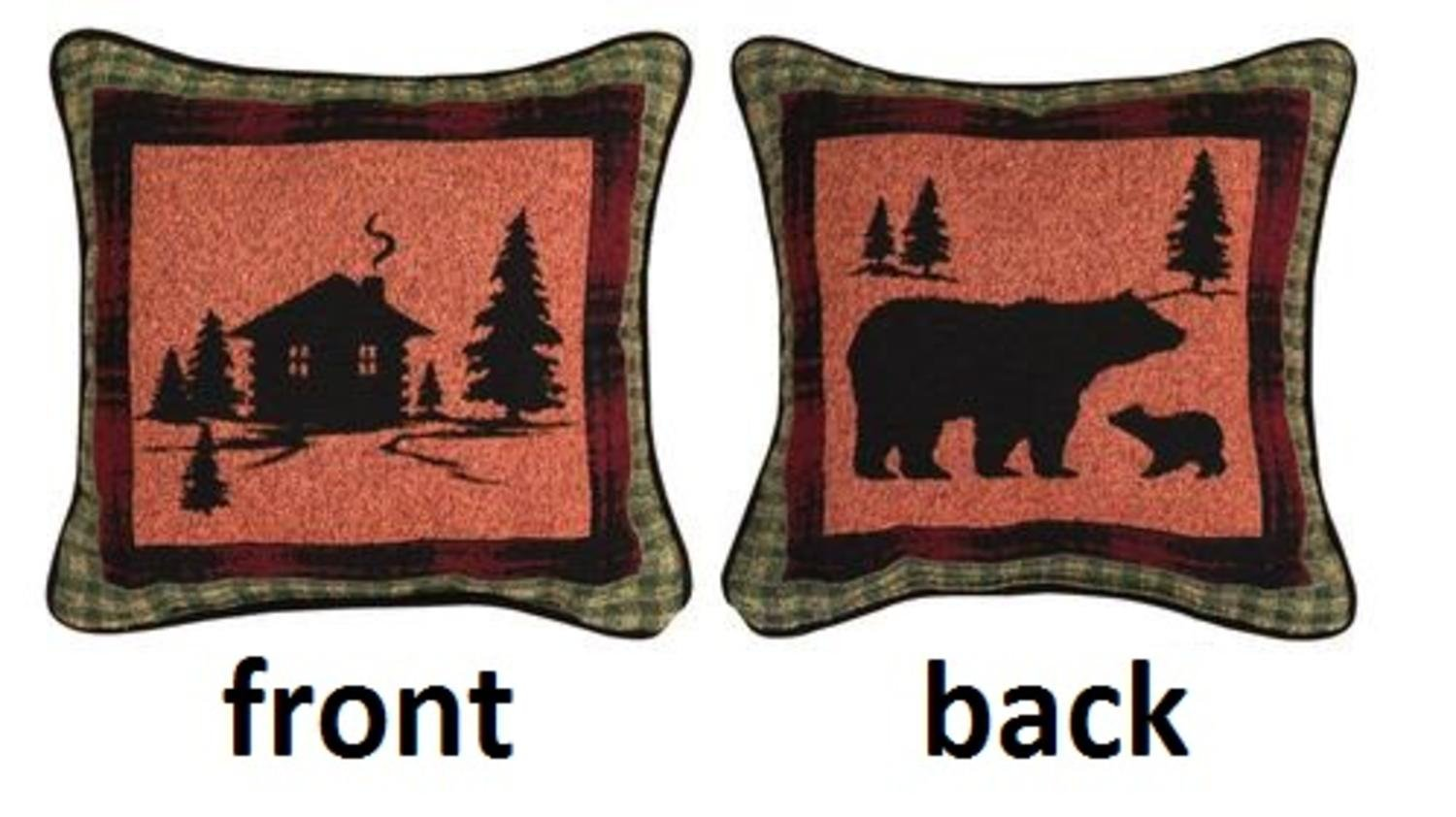 Manual Weavers 12.5'' Rustic Lodge Cabin in the Woods Square Throw Pillow