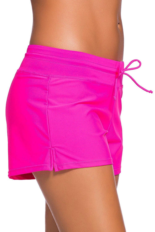 DONA Swim Shorts for Women,Womens Sport Board Shorts Swimsuit Bottom Womens Swim Shorts