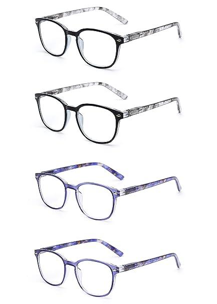 f17e4a8cc5 JM Gafas de Lectura Conjunto de 4 Calidad Bisagras de Resorte Lectores  Hombre Mujer Anteojos Para