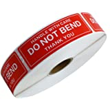 """Hybsk 1""""x3"""" Handle with Care Do Not Bend Thank You Stickers Adhesive Label 500 Per Roll"""