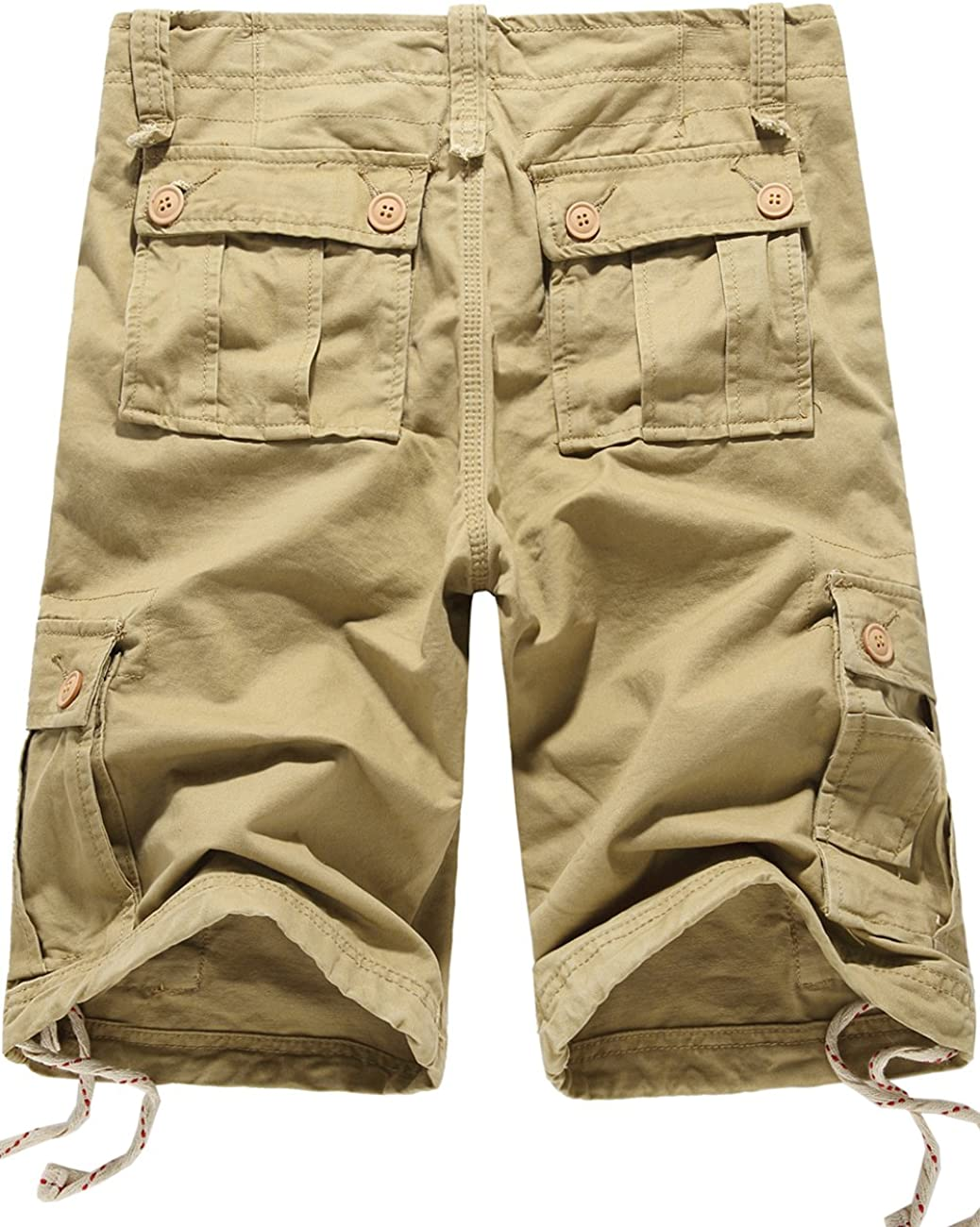 X-Future Mens Outdoor Multi-Pockets Cotton Solid Color Loose Fit Utility Casual Cargo Shorts